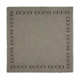 Check wool shawl with Gucci logo